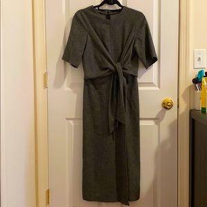 ZARA MAXI MOCK GREY WRAP DRESS